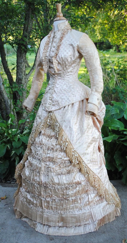 ANTIQUE DRESS c1875 WEDDING GOWN BUSTLE FLORAL SATIN ...