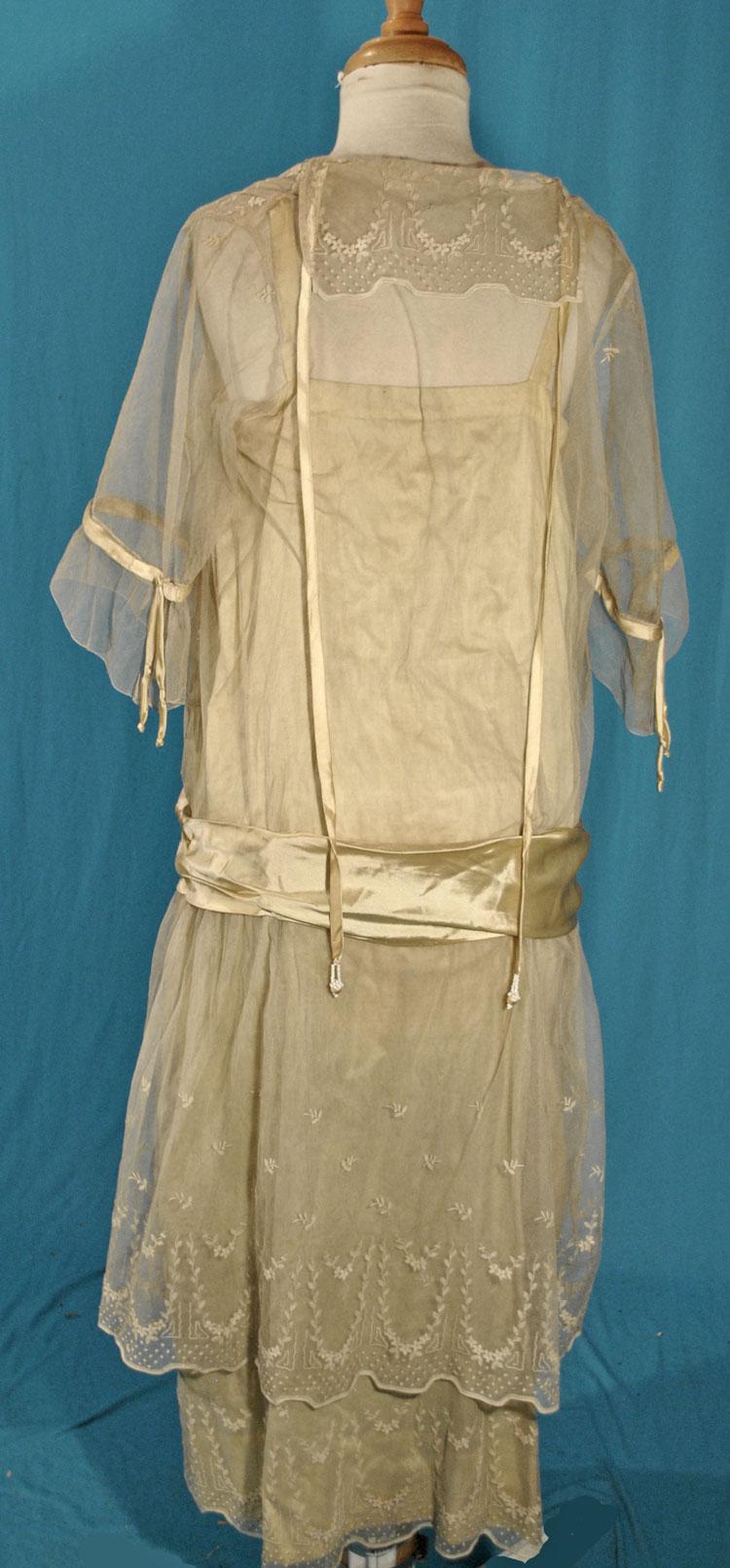 Antique Dress 1925 Fine White Tulle Machine Embroidered